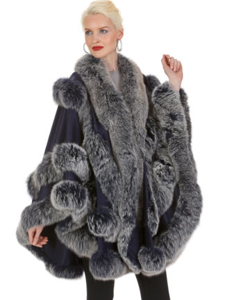 Navy Frost Cashmere Cape - Empress Style - Navy Frost Fox