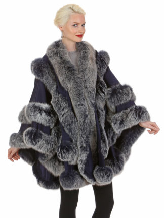Navy Frost Cashmere Cape - Empress Style - Navy Frost Fox - Plus Size