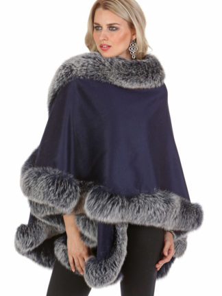 Cashmere Cape - Navy Frost Trim - Your Lady