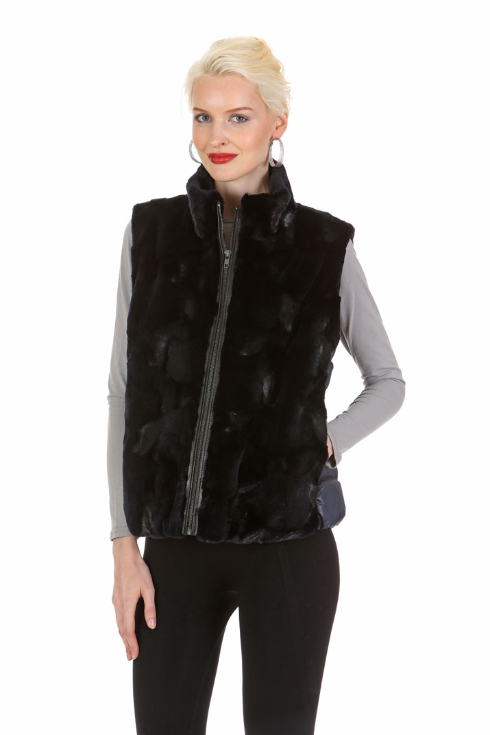 Navy Mink Cropped Vest - Quilted Side Panels - Convertible to Mink Jacket
