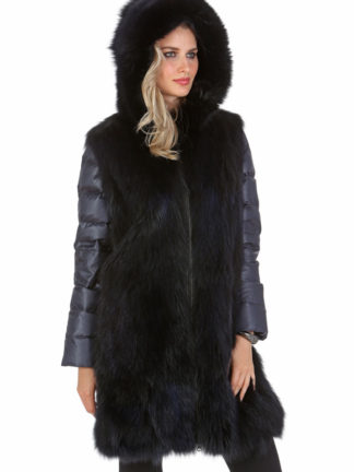 Navy Quilted Fox Coat - Hooded Fox Coat