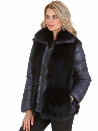 Navy Quilted Fox Jacket - Quilted Sleeve - Quilted Fox Vest