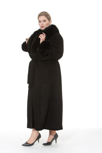 Black Cashmere Coat-Black Fox Trim- Plus Size