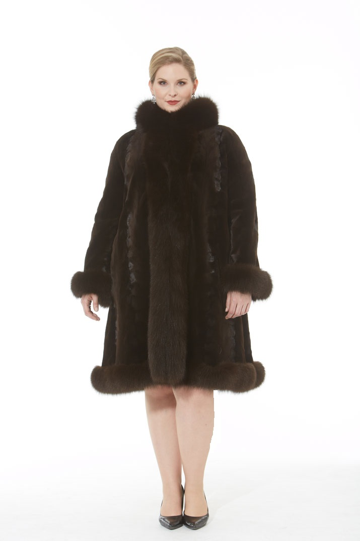 Mahogany Sheared Mink Coat - Fox Tuxedo and Trim - The Michelle