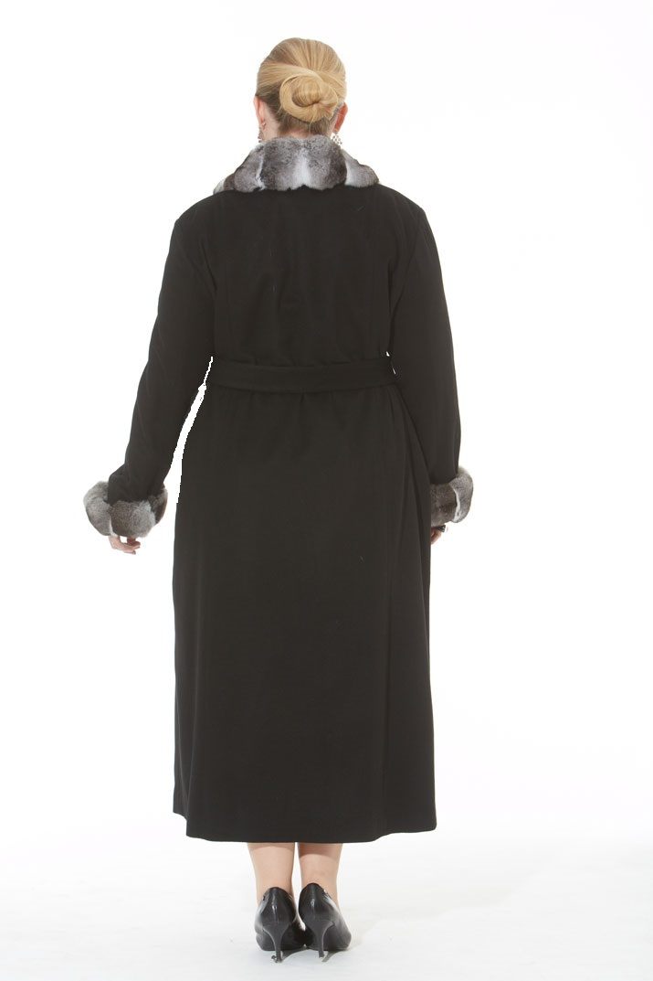 Black Cashmere Coat- Chinchilla Trim- Plus Size
