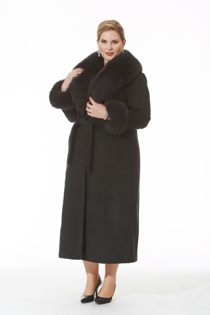 Charcoal Grey Cashmere Coat- Grey Fox Trim- Plus Size