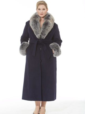 Navy Blue Cashmere Coat - Navy Frost Fox Trim- Plus Size