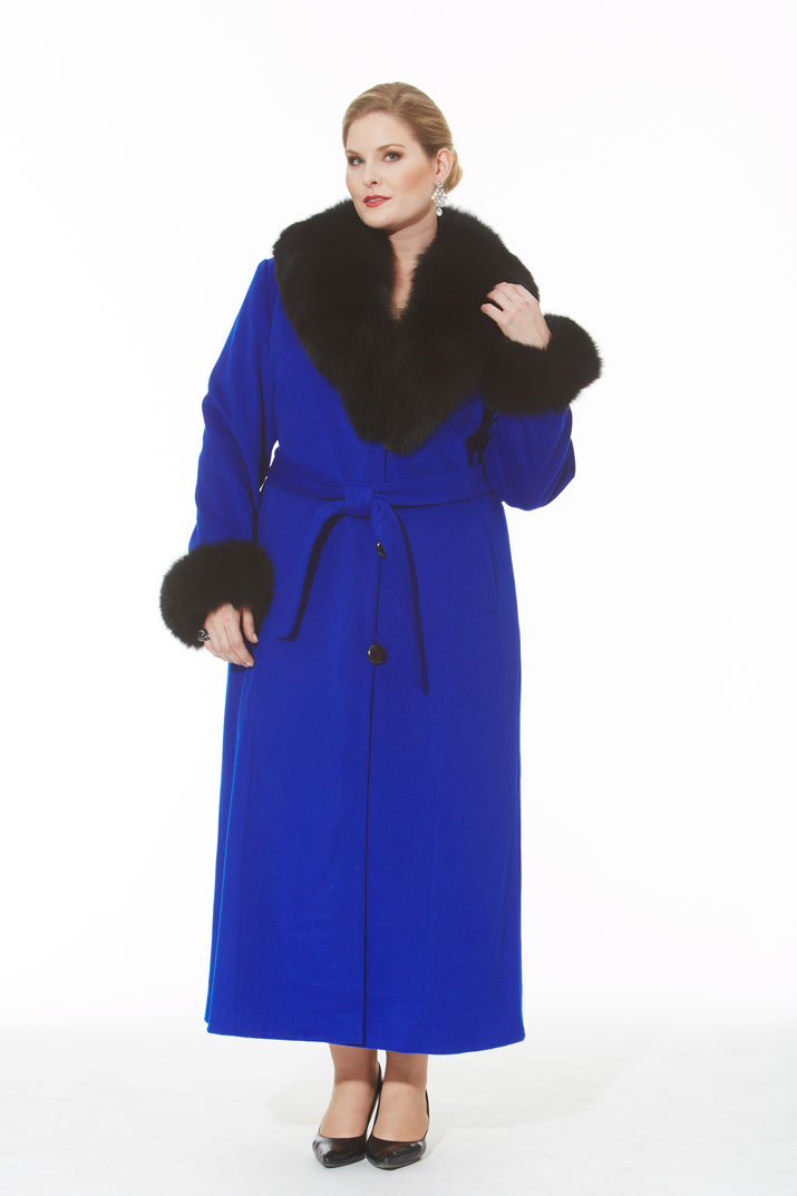 Royal Blue Cashmere Coat- Black Fox Trim- Plus Size