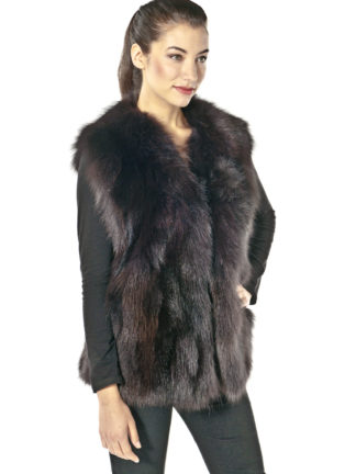 Plus Size Brown Fox Fur Vest