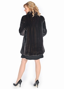 Plus Size Mahogany Mink Fur Jacket - Fox Trimmed
