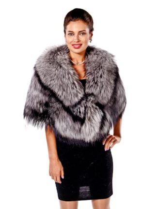 Plus Size Silver Fox Fur Cape