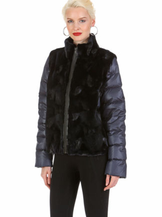 Navy Mink Cropped Jacket - Convertible to Mink Vest