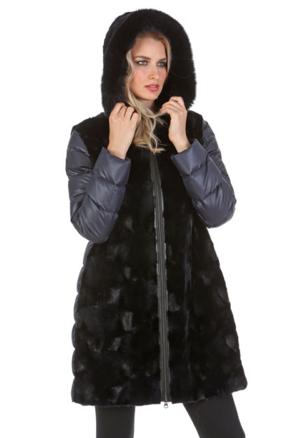 Navy Mink Hooded Coat Jacket- Quilted Sleeves - Navy Sculptured Mink