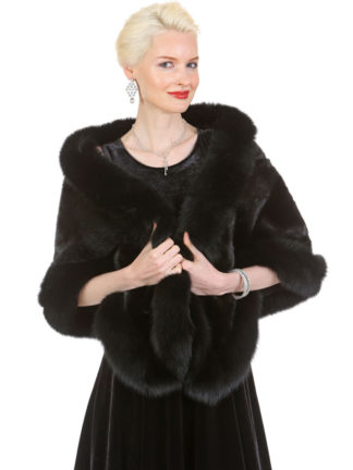 Ranch Mink Cape Stole- Black Fox Trim - The Lana
