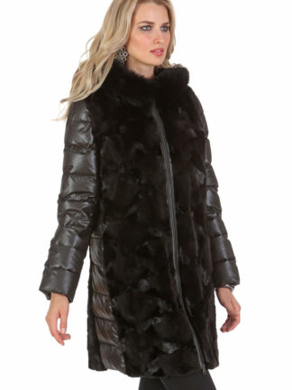 Black Mink Hooded Coat Jacket- Quilted Sleeves - Ranch Sculptured Mink