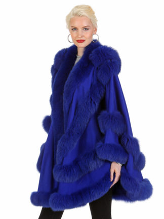 Royal Blue Cashmere Cape-Empress Style-Detachable Hood