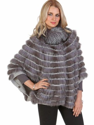 Silver Fox Fur Sweater-Batwing Sleeve-Plus Size