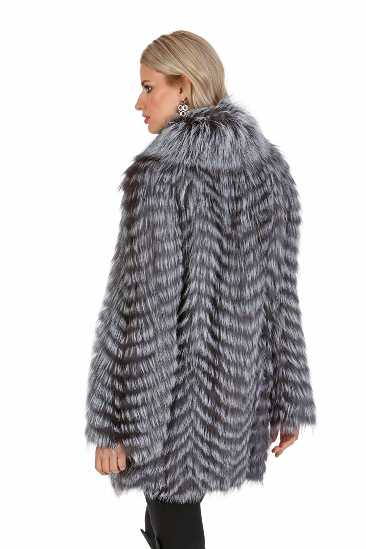 Silver Fox Sweater Jacket - Feathered Silver Fox