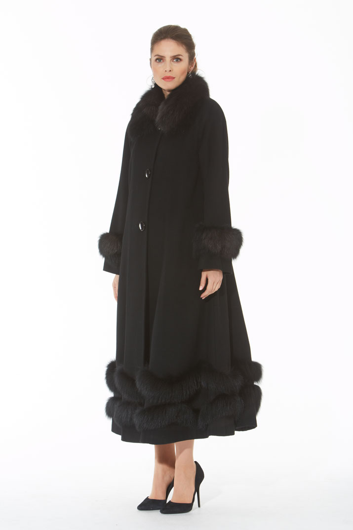 Cashmere Coat - Black Fox Double Trim - Swing and Sway