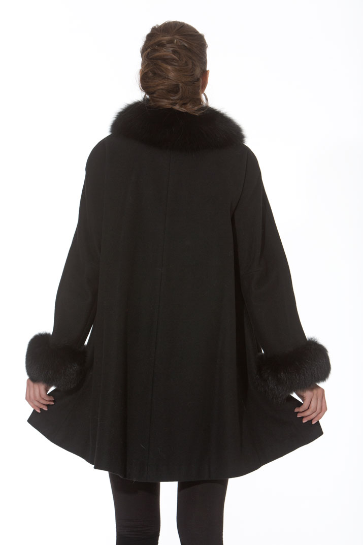 Black Cashmere Swing Jacket - Black Fox Collar and Cuffs