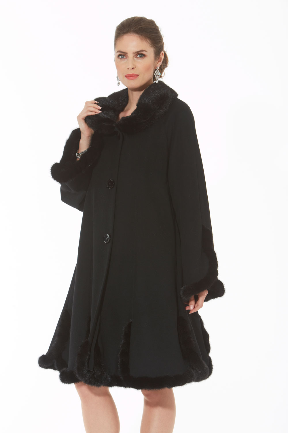 Cashmere and Mink Coat - Scalloped Hemline