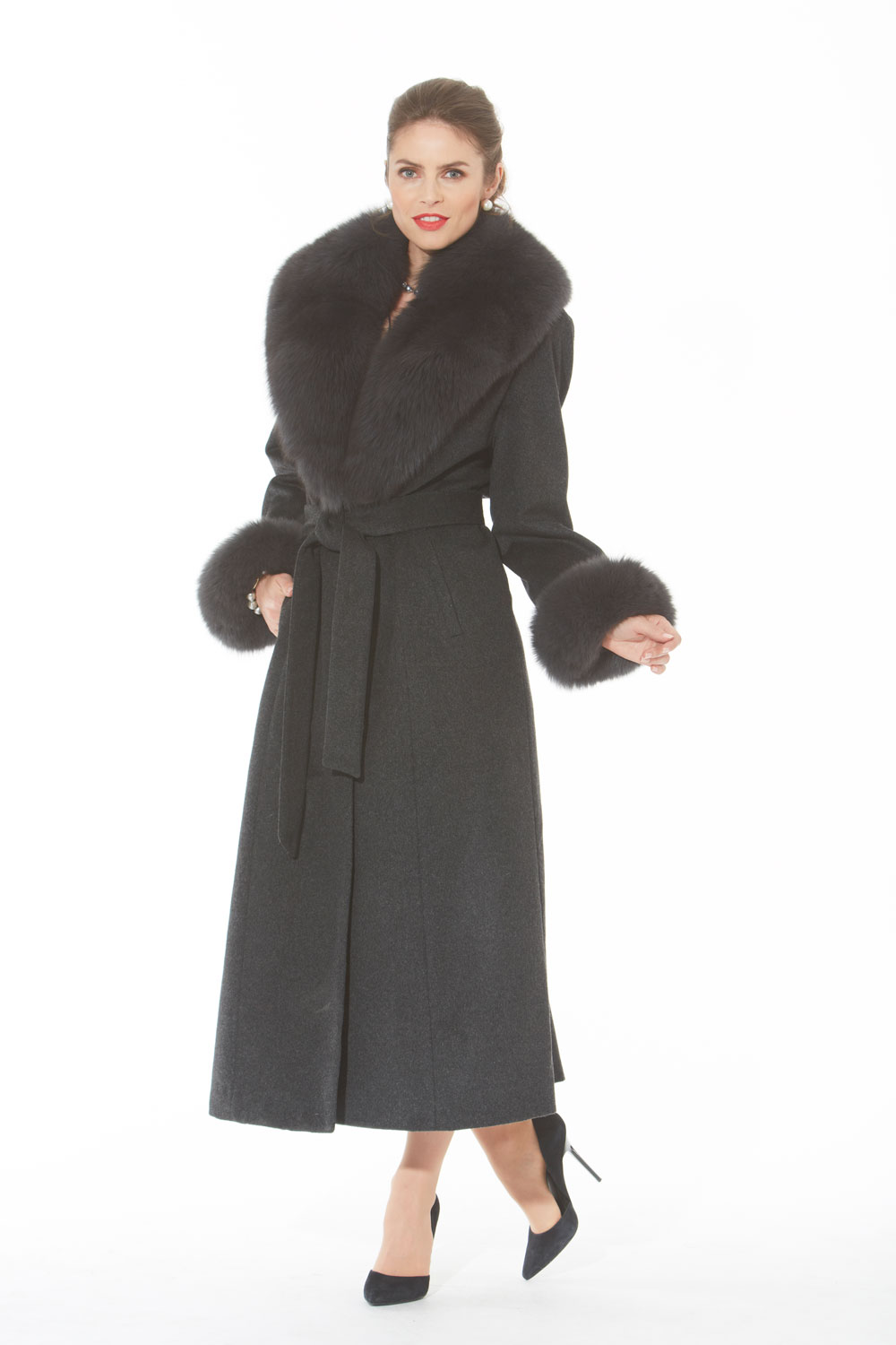 Charcoal Grey Women's Cashmere Coat - Grey Fox Collar and Cuffs