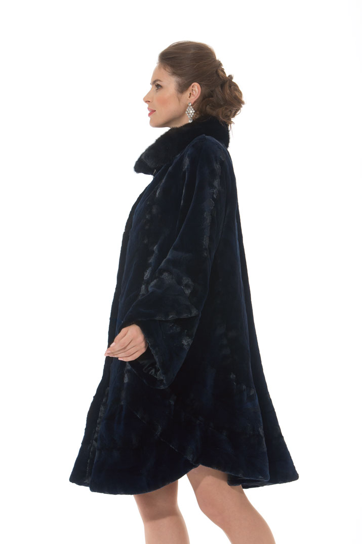 Navy Sheared Mink Swing  Coat - Swing In Mink