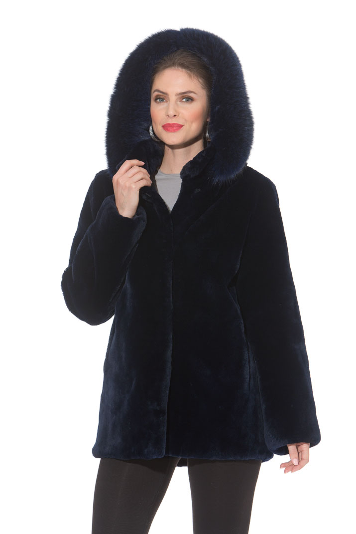 Navy Sheared Mink Jacket - Detachable Hood