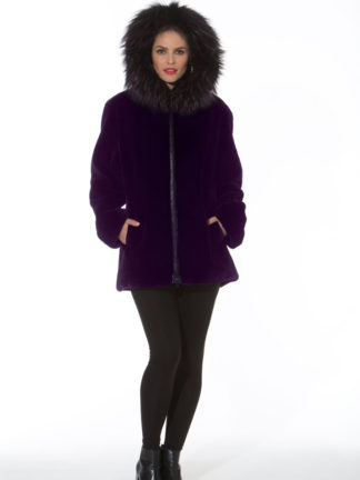 Purple Plum Sheared Beaver Zippered Jacket -