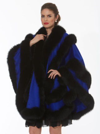 Royal Blue Cashmere Cape-Black Fox Trim-Empress Style