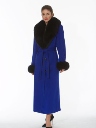 Royal Blue Cashmere Coat- Black Fox Trim