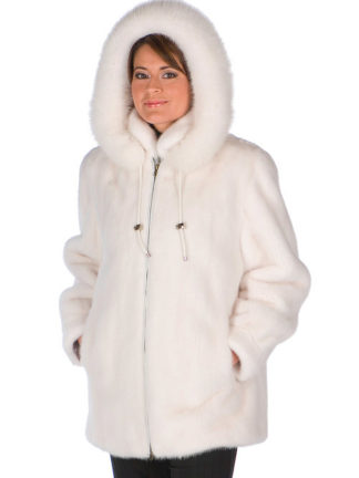 White Mink Fur Hooded Jacket- White Fox FurTrim