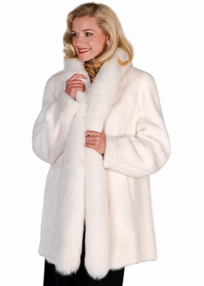 White Mink Fur Jacket - White Fur FoxTrim