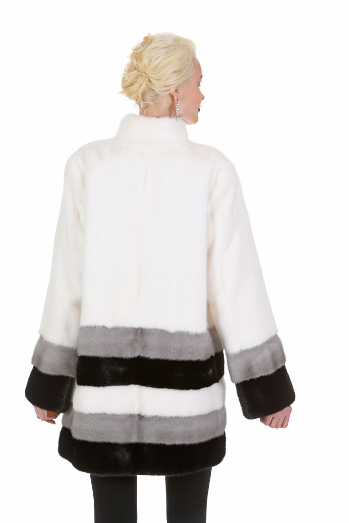 White Mink Jacket - Three Color Hem - Elegance in Triplicate