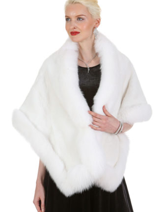 White Mink and White Fox Stole Cape - Plus Size - The Lana