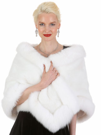 White Mink and White Fox Stole Cape - The Lana