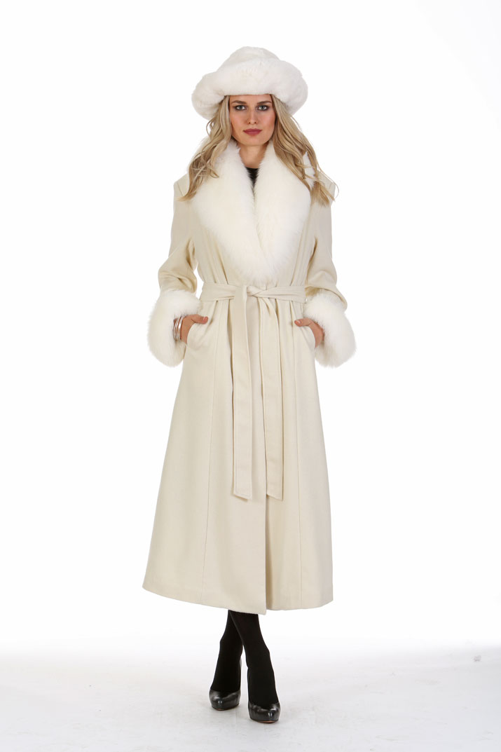Winter White Cashmere Coat - White Fox Collar and Cuffs