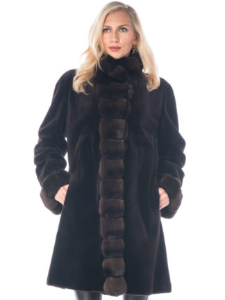 Dark Brown Sheared Mink 3/4 Coat Chinchilla Trim