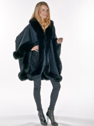 100% Cashmere Cape - Black Fox Trimmed -Majestic
