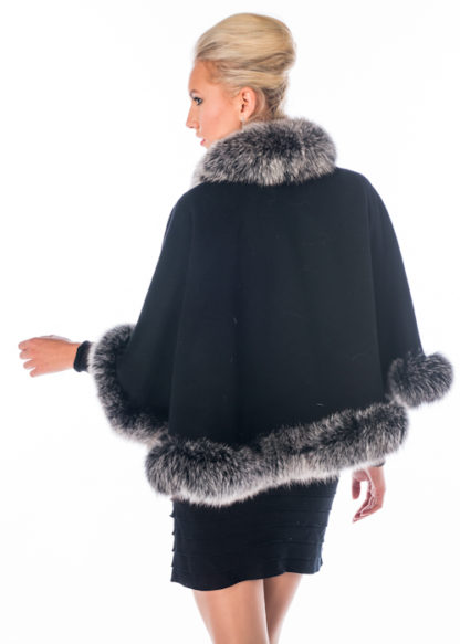 Black Cashmere Cape- Frosted Silver Fox- Duchess