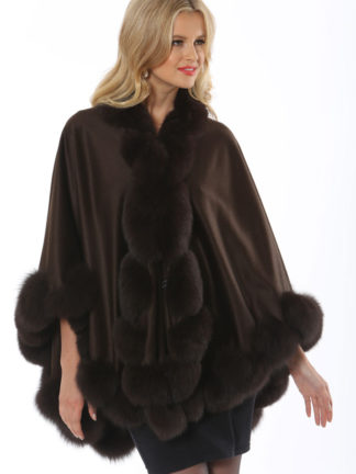 Cashmere Cape - Dark Brown Fox Trim - Marquessa