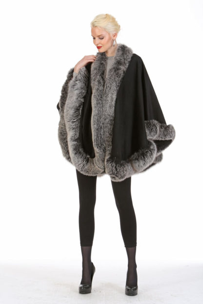 Black Cashmere Cape - Frost Fox Trimmed - 30