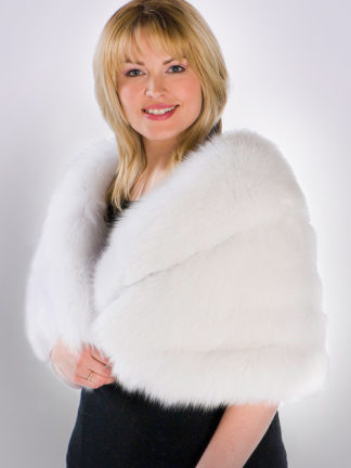 Fur Cape - White Fox Fur Cape Plus Size