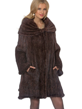 Knitted Mink Coat - Large Cape Collar - Mahogany