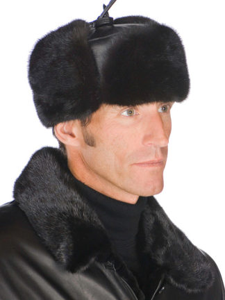 Mens Fur Hat - Trooper Mink Hat with Leather Crown