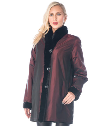 Sheared Mink Jacket-Reversible to Fabric Burgundy