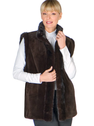 Sheared Mink Vest Reversible to Fabric-Brown